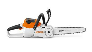 Lightweight cordless chainsaw for cutting firewood and garden maintenance. Soft handle, quick and tool-less chain change process with STIHL Quick Chain Tensioning, QuickStop Super chain brake, oil tank with transparent viewing window, high cutting performance and low vibration with a slim 1/4″ PM3 saw chain.