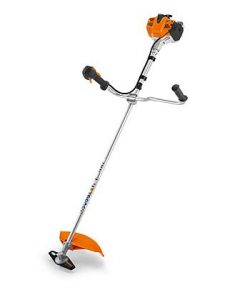 Lightweight petrol brushcutter. STIHL ErgoStart for easy starting, bike handle, engine controls with ECOSPEED partial load control, 2-MIX engine, straight shaft, single strap harness, grass cutting blade.